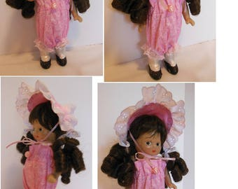 """Pink Sunsuit and Bonnet for 8"""" Unbreakable Betty"""