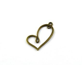 Antique bronze color heart charm