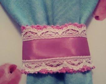 Napkins rings pink burlap & ribbon  set of 4 handmade pinklady cottage