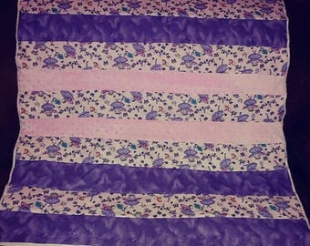 Lavender,Pink & tiny lavender flowers baby girl quilt flannel, pieced crib  baby quilt handmade