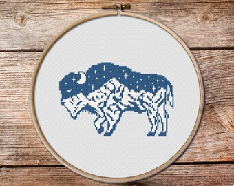 Buffalo Cross Stitch pattern, cross stitch pattern, totem animals, mountains cross stitch, bull, gift for rangers, mountainscape, bison #005