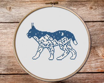 Bobcat Cross Stitch Pattern, lynx cross stitc, bobcat, keeper of the night, mountains cross stitch, totem animals cross stitch pattern #002