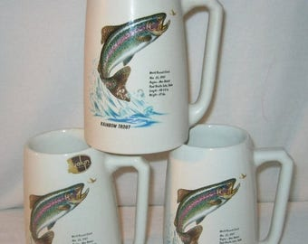 40% Vintage Fish Mugs - Hyalyn Pottery Mugs - Fish Mug Set - Rainbow Trout Mugs -  Set of 3