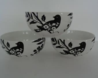 222 Fifth Bird Bowls - Black and White Bird Bowls - Garden Revelry Bird Bowls - Set of 3