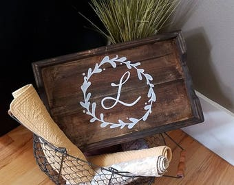 "NEW Wood Tray- Monogram-Handcrafted and Handpainted-17.5""x11"" Home & Garden Decor"