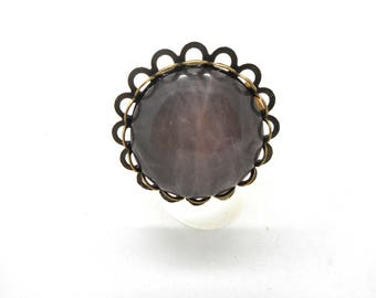 Ring bronze cabochon quartz pink 30mm