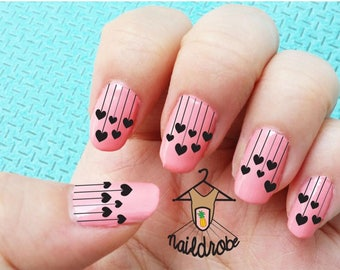 Heart Rain Drops Valentine Love Waterslide Nail Decals  (Waterslide Nail Decal)