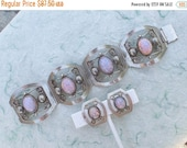 Half off Vintage Mexico Sterling Silver Foiled Art Glass Cuff Bracelet earring set AB954