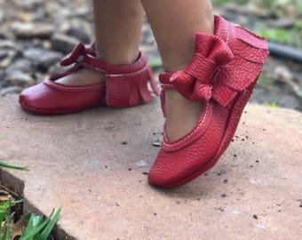 Red cherry Leather mary Janes - baby moccasins - soft sole embroidery name / message / DOB