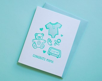 New Baby Congratulations Card. Funny Baby Cards. Letterpress Stationery. Congrats Greeting Card. New Parents. Handmade Paper Goods.