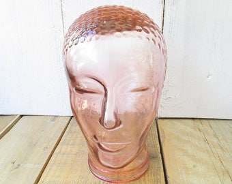 Vintage Mannequin Glass Head, Display Head, Headphone Head, Pink Glass