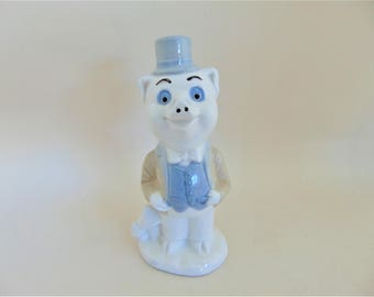 Pig Figurine Porcelain Novelty Gentleman Piggy Vintage Collectable Interior Home Decor