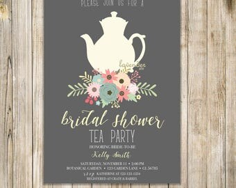 BRIDAL SHOWER TEA Party Invitation, Floral Bridal Tea Invites, Fall Bridal Shower Invite, Couples Shower, Bridal Luncheon, Wedding Brunch