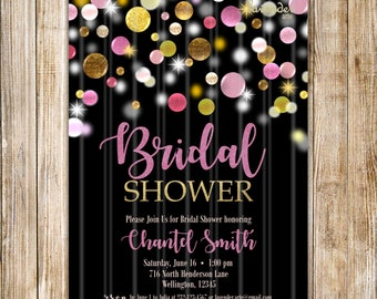 Pink and Gold BRIDAL SHOWER Invitation, Confetti Bridal Shower Invite, Pink and Gold Wedding Shower, Modern Black Bridal Shower, Elegant