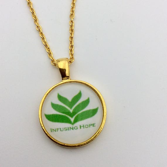 Circle Pendant -Infusing Hope, Silver or Gold tone. Blue Velvet Gift Bag Included!