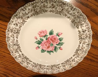 "Vinage Sebring Pottery Co. Ohio USA China Bouquet Pattern #1 K S-518 Two 7"" Salad or Dessert Plates Rose Pattern 22K Gold Trim"