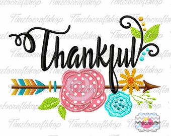 Embroidery Design Thankful Arrow