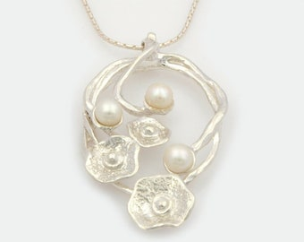 Silver and Pearl Floral Necklace, Silver Floral Necklace, Sterling Silver Necklace, By Nature Jewellery, S6934