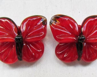 Lampwork butterflies, red lampwork beads by Inna Kirkevich, handmade artisan glass beads, beads for jewelry, set of 2 glass beads