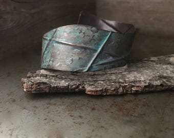 Rustic turquoise cuff, fold formed, textured copper bracelet