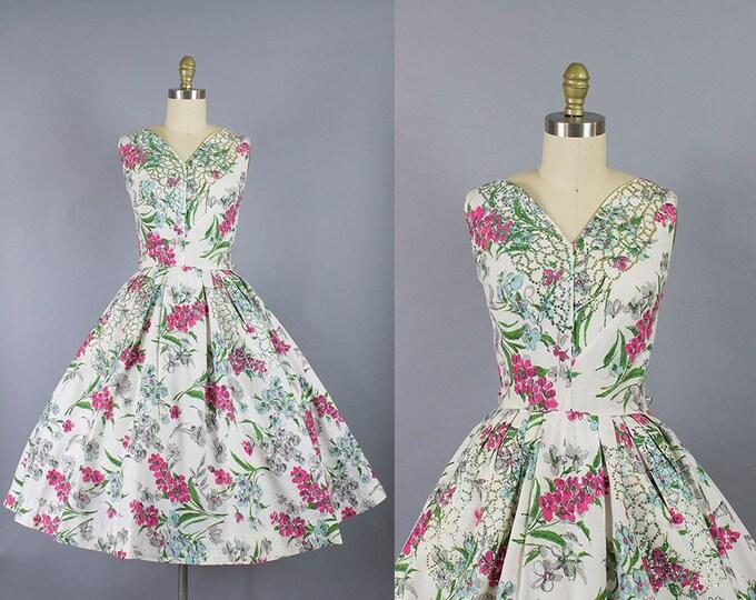 1950s Floral Dress/ Medium (36b/28w)