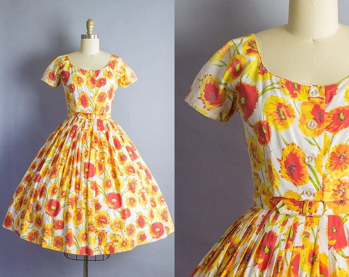 1950s Floral Cotton Dress/ Small (36B/26W)