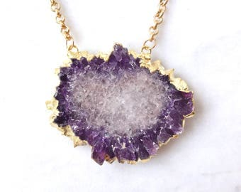 Amethyst Stalactite Necklace - Amethyst Necklace Stalactite Slice Pendant Raw Amethyst Flower Jewelry Gold Boho Christmas Gift for Her