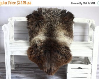 ON SALE Gray Sheepskin | Sheepskin Rug | Real Sheepskin Rug | Shaggy Rug | Chair Cover | Area Rug | Brown Rug | Carpet | Throw