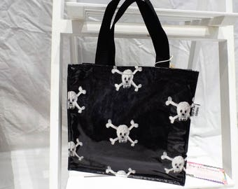 Small oilcloth tote bag skull and crossbones gothic lunch bag gift bag black