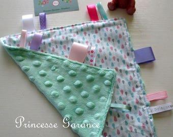 Doudou cotton labels drops pastel and Mint minky