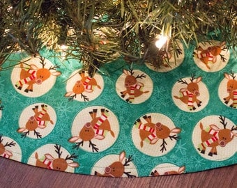 Christmas Tree Skirt-Reindeer-Deer-Woodland-Green-Tree Skirt-Holiday Decor-Christmas Decoration-36""