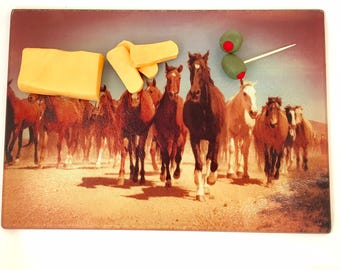 Cutting Board / Cheese Board, Galloping Horses Western Glass cutting Board.