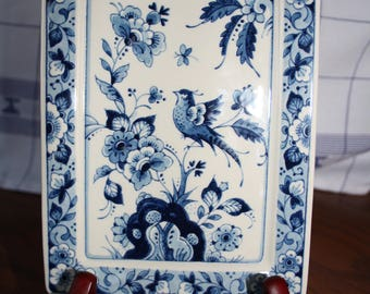 Vintage Porceleyne Fles Delft Plate/Small Tray - Bird/Flower