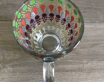 Multi Colored Hand Painted Glass Mug