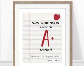 Teacher Gift, Personalized Art, Teacher Print, You're An A+ Teacher
