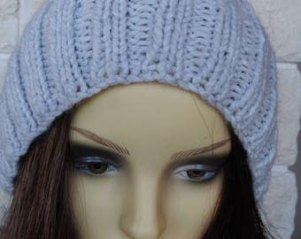 Hand Knitted Women's Light Grey Ribbed Winter Hat With A Black Pompom - Free Shipping