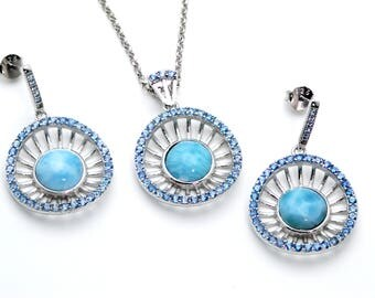 Larimar. Stunning Wagon Wheel Earring and Necklace Set .925 Sterling Silver
