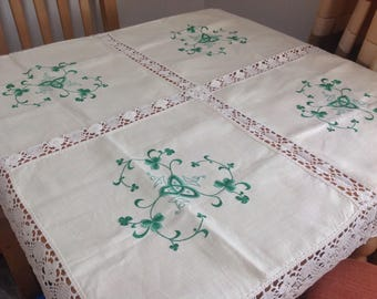 Vintage embroidered cream  linen tablecloth.
