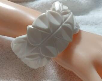 Thick Carved White Lucite Bangle Bracelet