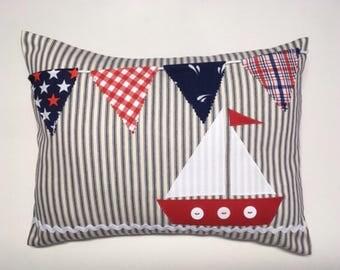 Nautical pillow, sailboat pillow, bunting pillow, ticking pillow cover, boy nursery decor, coastal, beach house, red white blue, baby gift