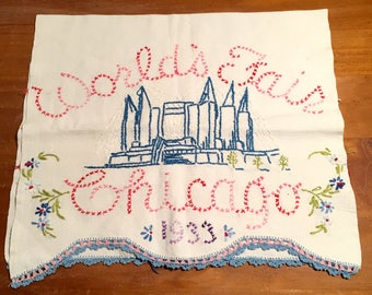 World's Fair Chicago/ 1933 / tea towel/handmade
