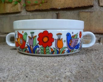 Vintage Royal Crown Paradise Porcelain Ovenware Individual Covered Casserole