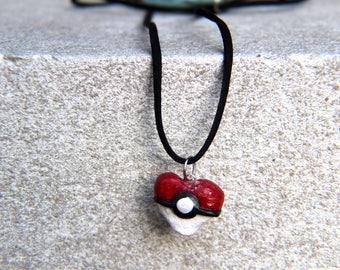 Pokeball Heart Necklace Handmade Clay Rave EDM Music Festival Pokemon