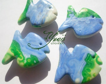magnet Fimo fish blue and green 2.5 cm