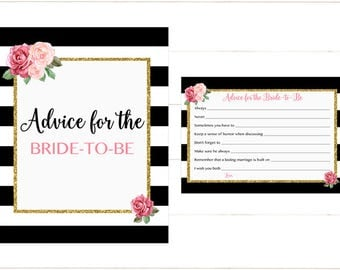 Advice for the Bride to Be, Roses Advice Card, Pink Black and White Stripe Gold Bridal, Instant Download Printable 253