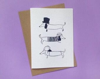 Hat Dog Dachshund card   Sausage Dog Illustration   Dog Greeting Card