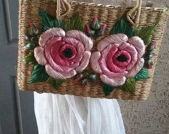 Vintage 50s pink rose cabana bag, pinup handbag