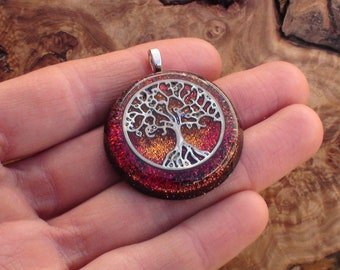 Red Orange Sunset Tree of Life Root & Sacral Chakra Crystal Ormus Orgone Energy Unisex Pendant Necklace 30mm Abundance Creativity Intuition