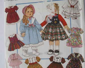 "DOLL CLOTHES Patterns, Simplicity 8961 /9381, baby doll 18"" /45.5 cm, dress, pantaloons, bonnet"