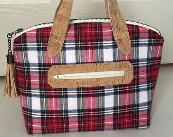 Lola Domed Handbag/Purse, Cork and Plaid with Tassel